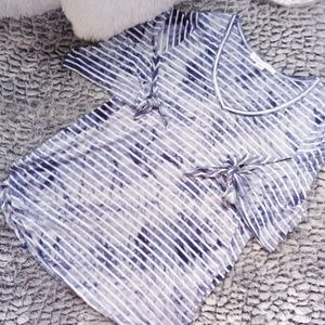 KAREN KANE Blue and White Tye Dye Blouse